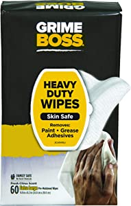 Grime Boss 60 Count Heavy Duty Hand Cleaning Wipes, White