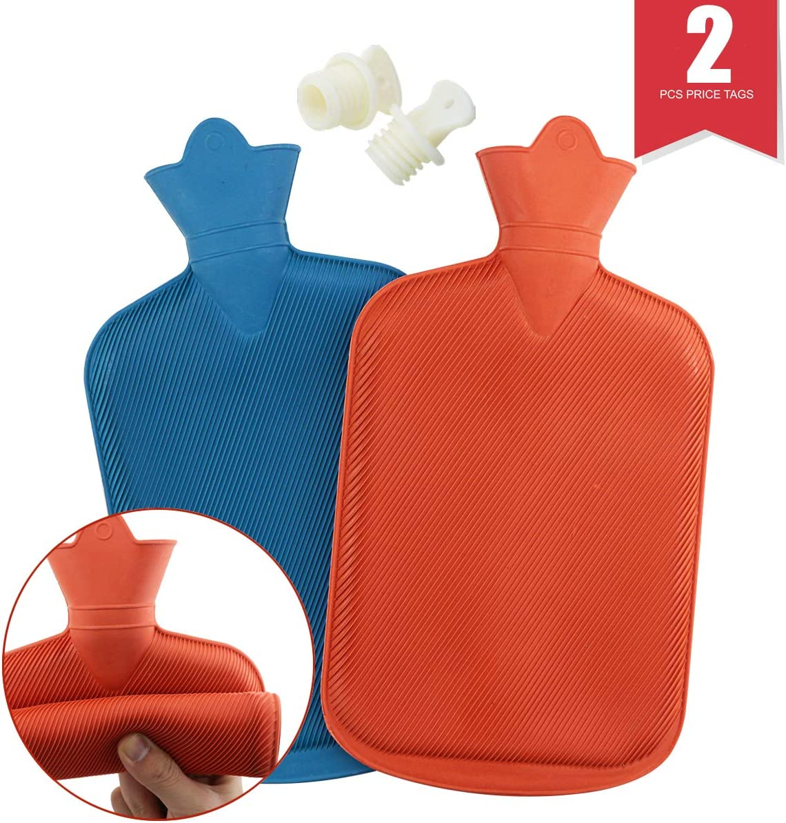 WTSHOP 2 Pack Premium Simple Rubber 2L Hot Water Bag(an Orange one and a Blue one),Great for Pain Relief,Hot and Cold Therapy,Natural Rubber BPA Free-Durable Hot Water Bottle
