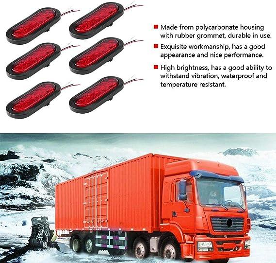 10 LED rossi camion e furgoni Luci a LED per rimorchio 12 V 6 pezzi luci di posizione laterali ovali di stop//turn//luci posteriori per rimorchio