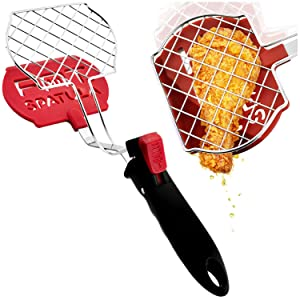 Fat Spatula Kitchen Tongs & Flipper 3-In-1 Turner Separator Tool - Nonstick Nylon & Stainless Steel Strainer Grid for Unique Heat-Resistant Grease Busting Cooking | Fun Multitool Home Gadgets