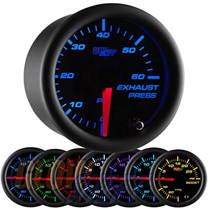 GlowShift negro 7 Color 60 PSI Escape Medidor de presión