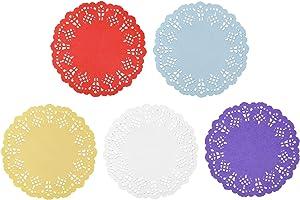 Paper Doilies, Jagrove 100 Pieces 3.5 Inches Lace Doilies Paper Colorful Decorative Round Paper Placemats Bulk for Cakes Desserts Wedding Party Tableware Decoration, 5 Colors