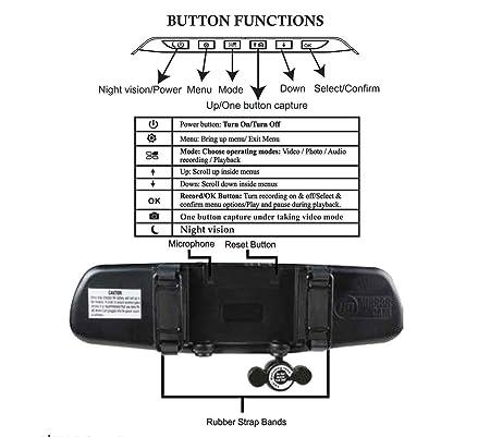 Amazon.com : Camara Para Carro Espejo Retrovisor Grabadora Detector Movimiento Vision Noche : Camera & Photo