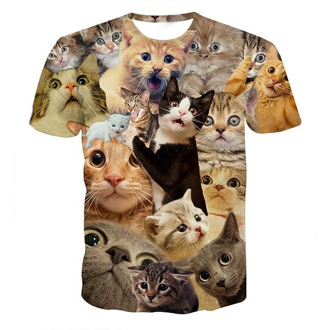 Shirts Herren GJKK Herren Casual 3D Gedruckt Sommershirt O-Ausschnitt Kurzarmshirt Kitty Katze T-Shirts Top Bluse...