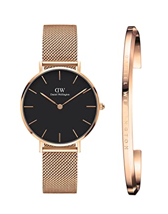 75088f9a1f1c Buy Daniel Wellington Petite Melrose Analogue Black Dial Women s Watch 32Mm    Rose Gold Cuff Combo - Dw00500007 Online at Low Prices in India -  Amazon.in