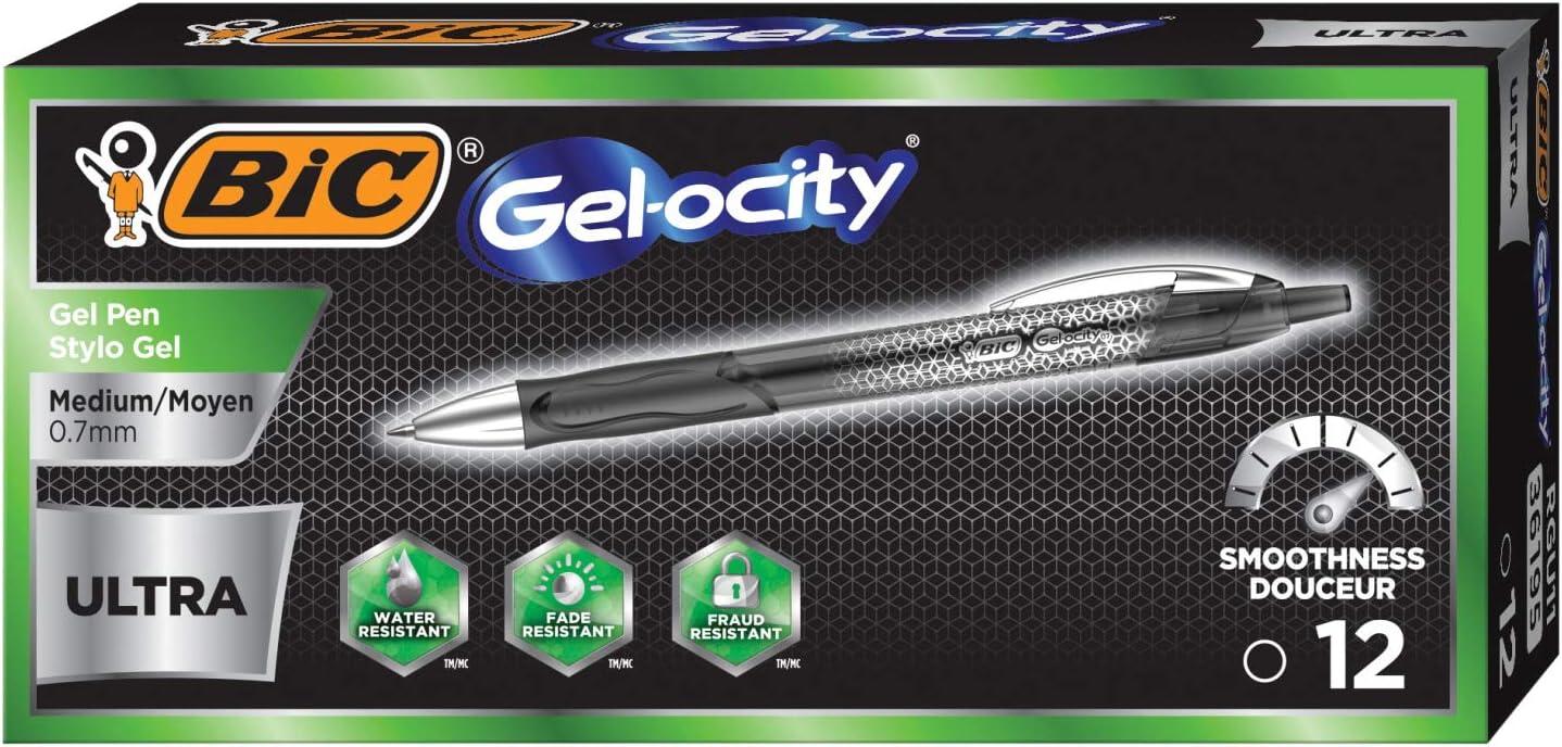 BIC Gel-Ocity Ultra Gel Pens, Medium Point Retracable (0.7mm), Black Ink Gel Pen, 12-Count