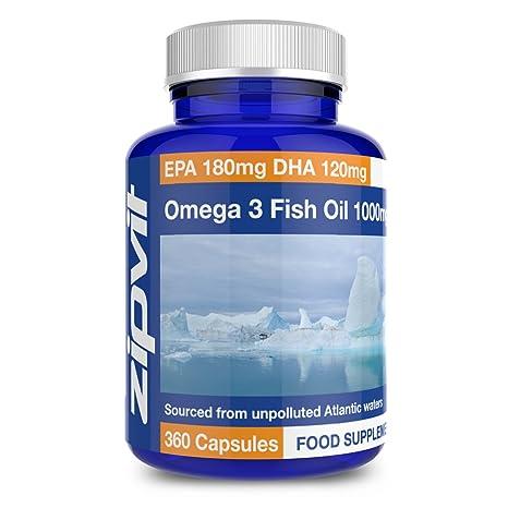 Omega 3 Fischöl 1000mg   360 Kapseln   EPA 180mg DHA 120mg   Unterstützt Herz, Gehirn und Augengesundheit   Versorgung für 12