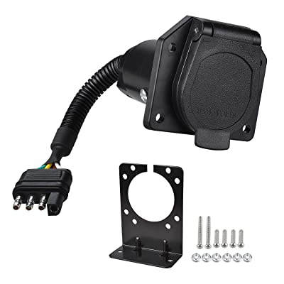 YONHAN 4-Way Flat Truck to 7-Way Blade Trailer Light Adapter Reverse Plug Connector with Mounting Bracket for Towing Solutions: Automotive [5Bkhe1010071]