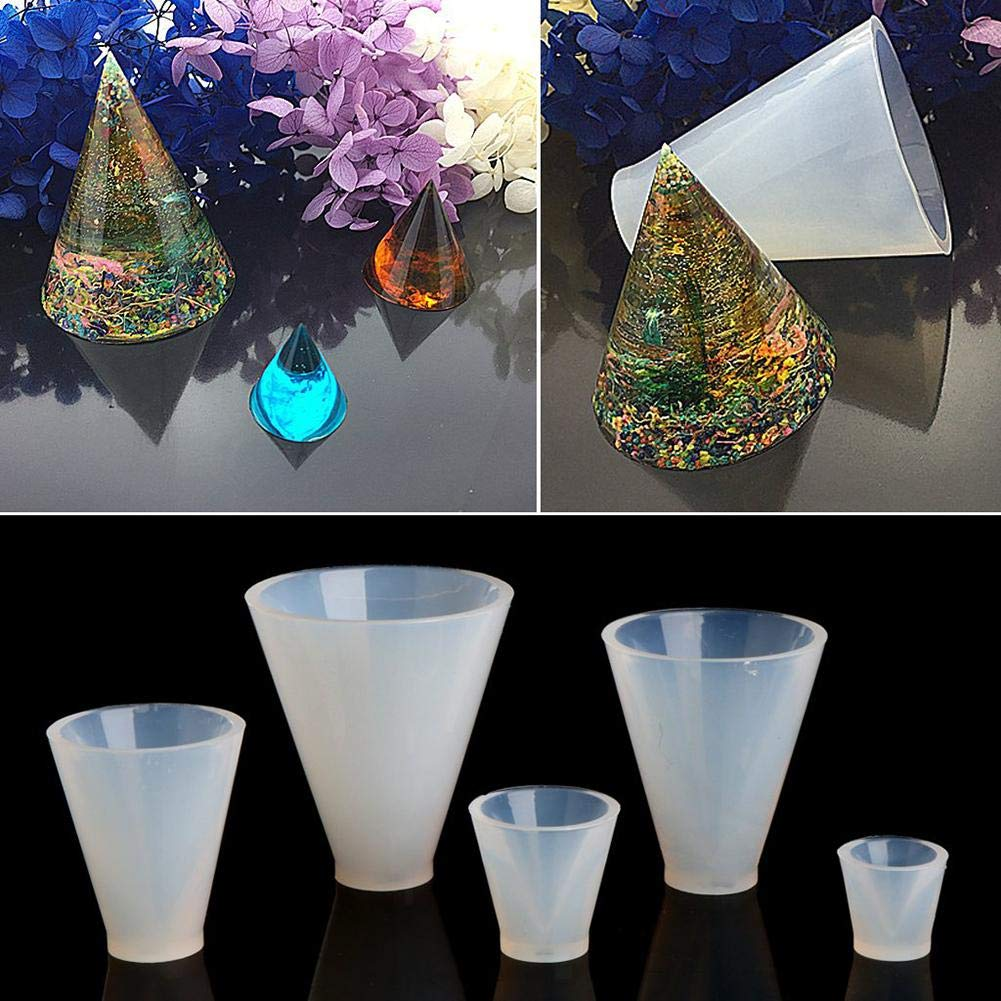 DIY Jewelry Silicone Crystal Drop Mold Resin Epoxy Casting Mold Cone Transparent Mold for Pendant Earring Necklace Jewelry Making