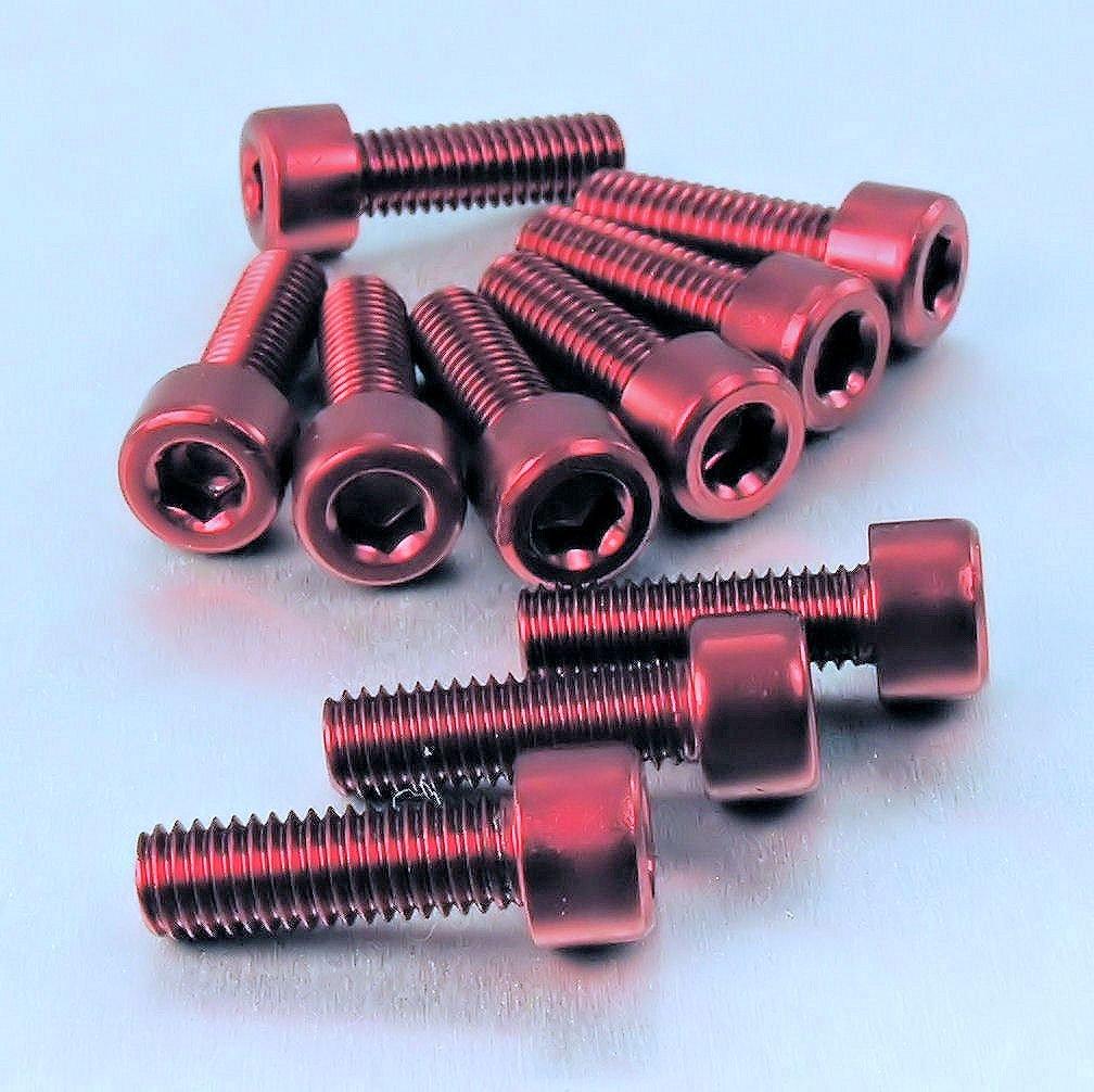 Aluminium Allen Bolt M8 x (1.25mm) x 25mm Pack x 10 Orange