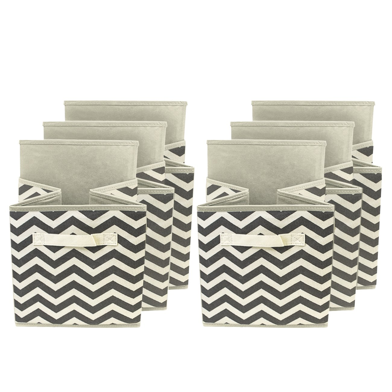 Sorbus Foldable Storage Cube Basket Bin Beige 6 Pack,Chevron Pattern