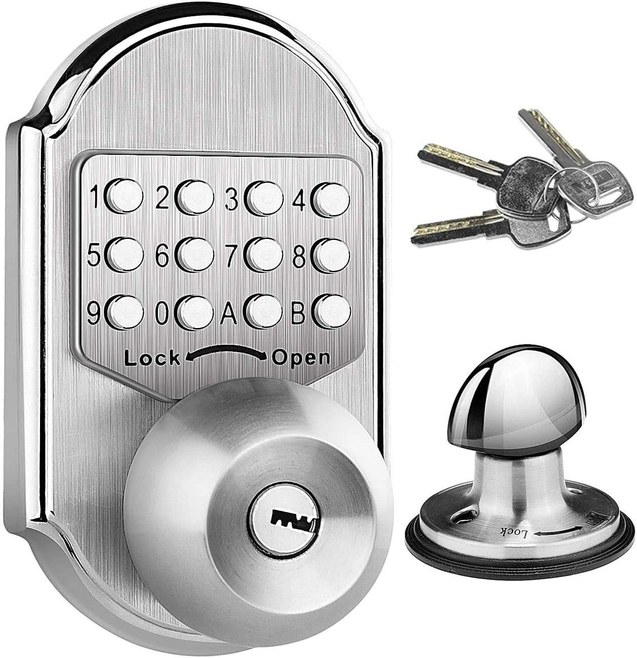 Elemake Keyless Door Lock Deadbolt Entry Door Knob Keypad Digital Combination Higher Security Keypad Door Knob Mechanical Stainless Steel #304 (Pass Code or Key )
