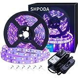 SHPODA 16.4ft LED Black Light Strip Kit, 300 Units,12V Flexible Blacklight Fixtures,5M LED Ribbon,Non-Waterproof for…