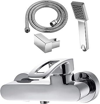 GRIFERIAS BORRÁS - SERIE LAX - Grifo ducha Monomando LAX0484C - pack con flexo, soporte pared y manual, Cromo - Instalación Baño