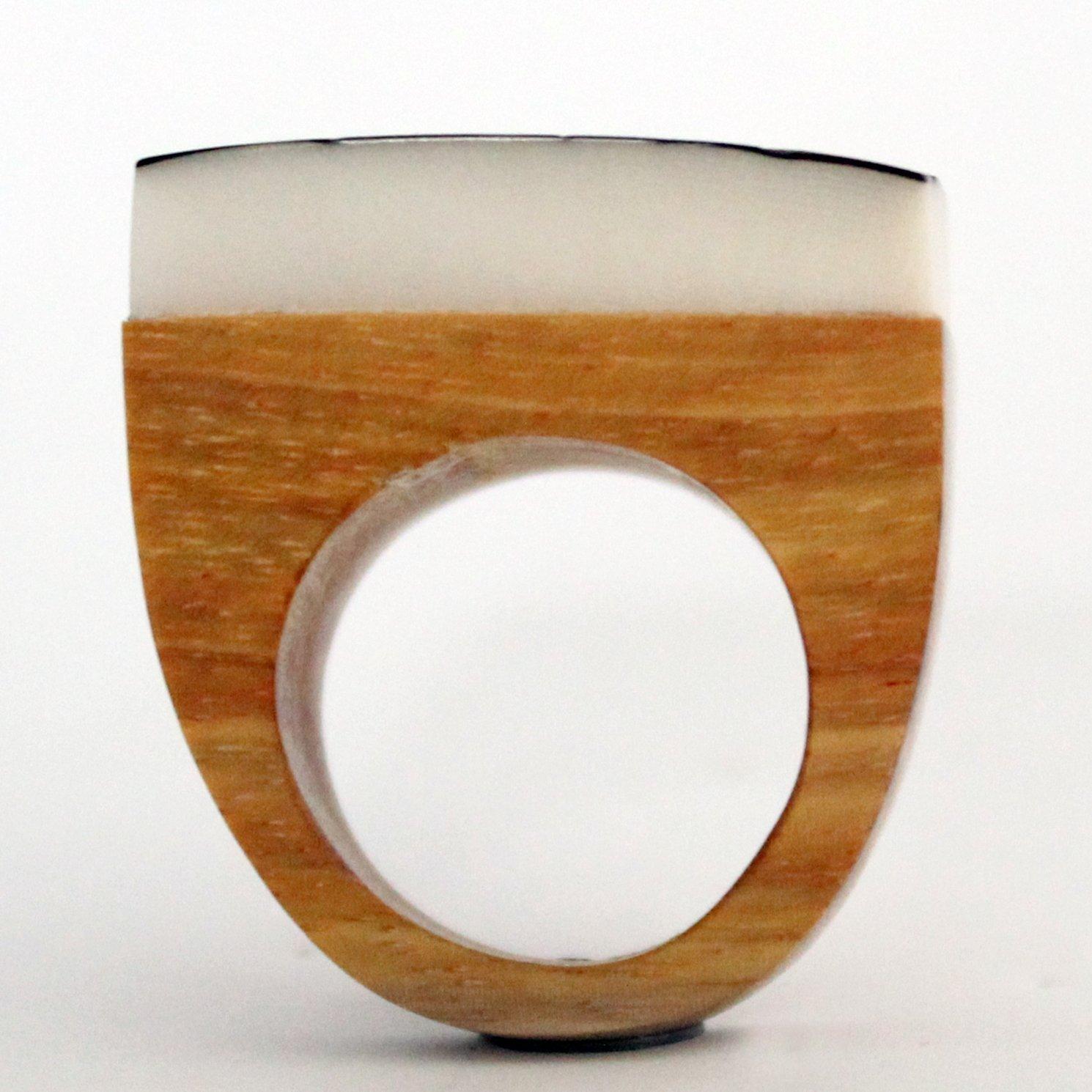 Orange Tagua Nut Ring TAG805 Eco-Friendly Tagua Ring Organic Ring in Orange