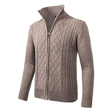 1deab0e4062 VOBOOM Mens Casual Stand Collar Cable Knitted Zip-up Cardigan Sweater Jacket  (Apricot,