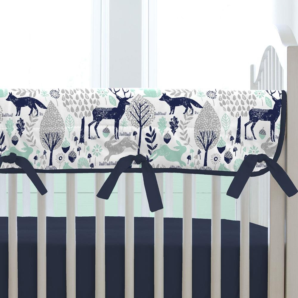 Carousel Designs Navy and Mint Woodlands Crib Rail Cover