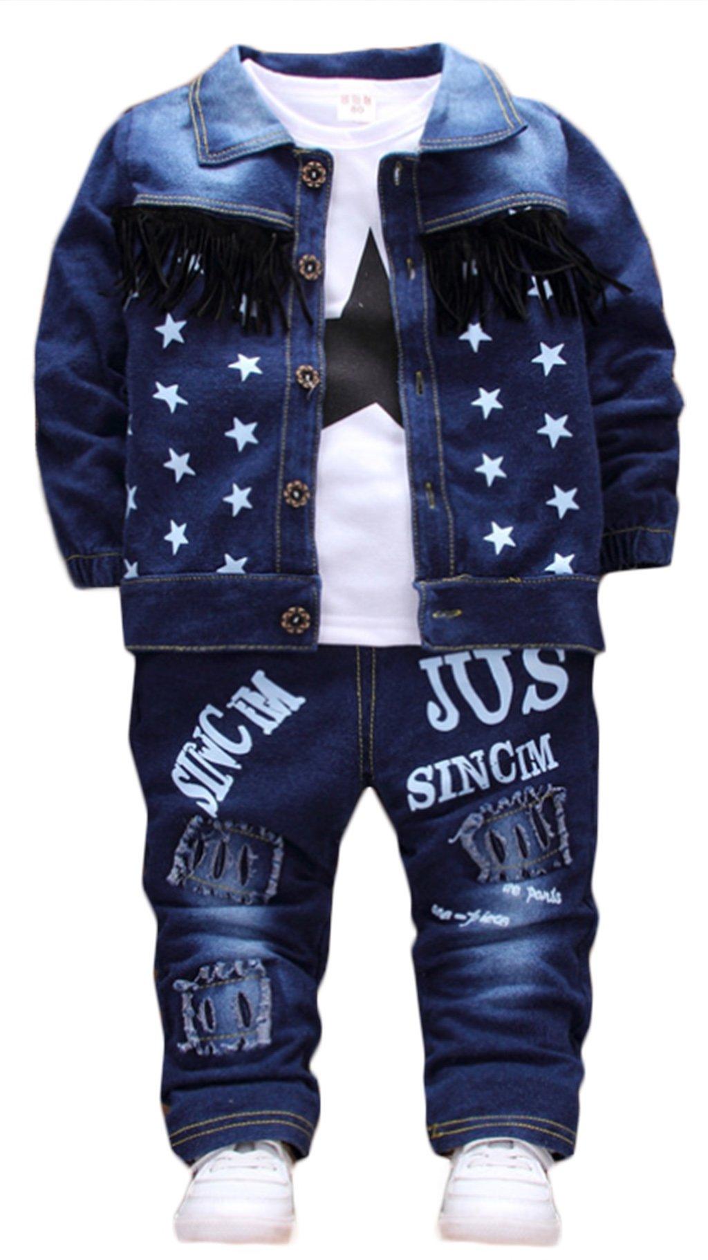Autumn Baby Boys Denim Stars Coat With T Shirt Holes Pants 3pcs Children Set size 3T(Tag 100) (Blue)