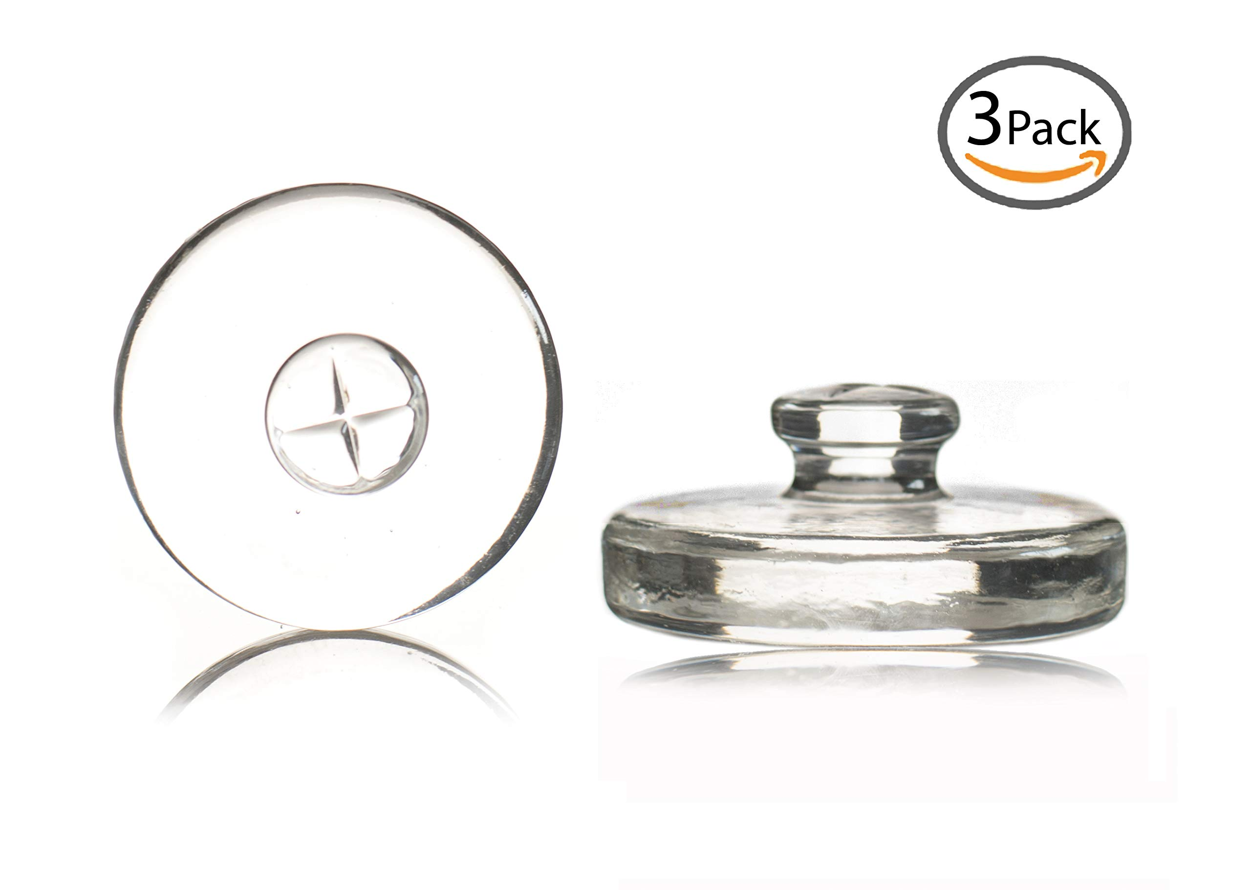3 Premium Fermenting Weights, Heavy Hand-Crafted Glass Fermentation Weights with Easy Handle for Wide Mouth Mason Jar Fermenting Sauerkraut, Pickles, Kimchi and More Home Fermented Foods