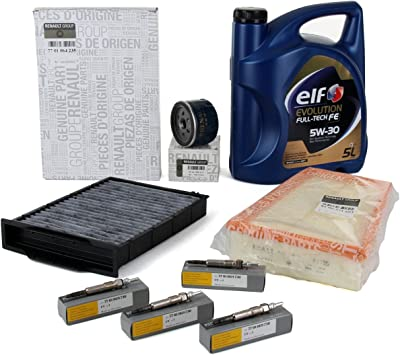 Kit Servicio: Filtros Originales motor 1.5dCi + Aceite Motor Elf Evolution Full-Tech Fe 5W-30 5 lts: Amazon.es: Coche y moto