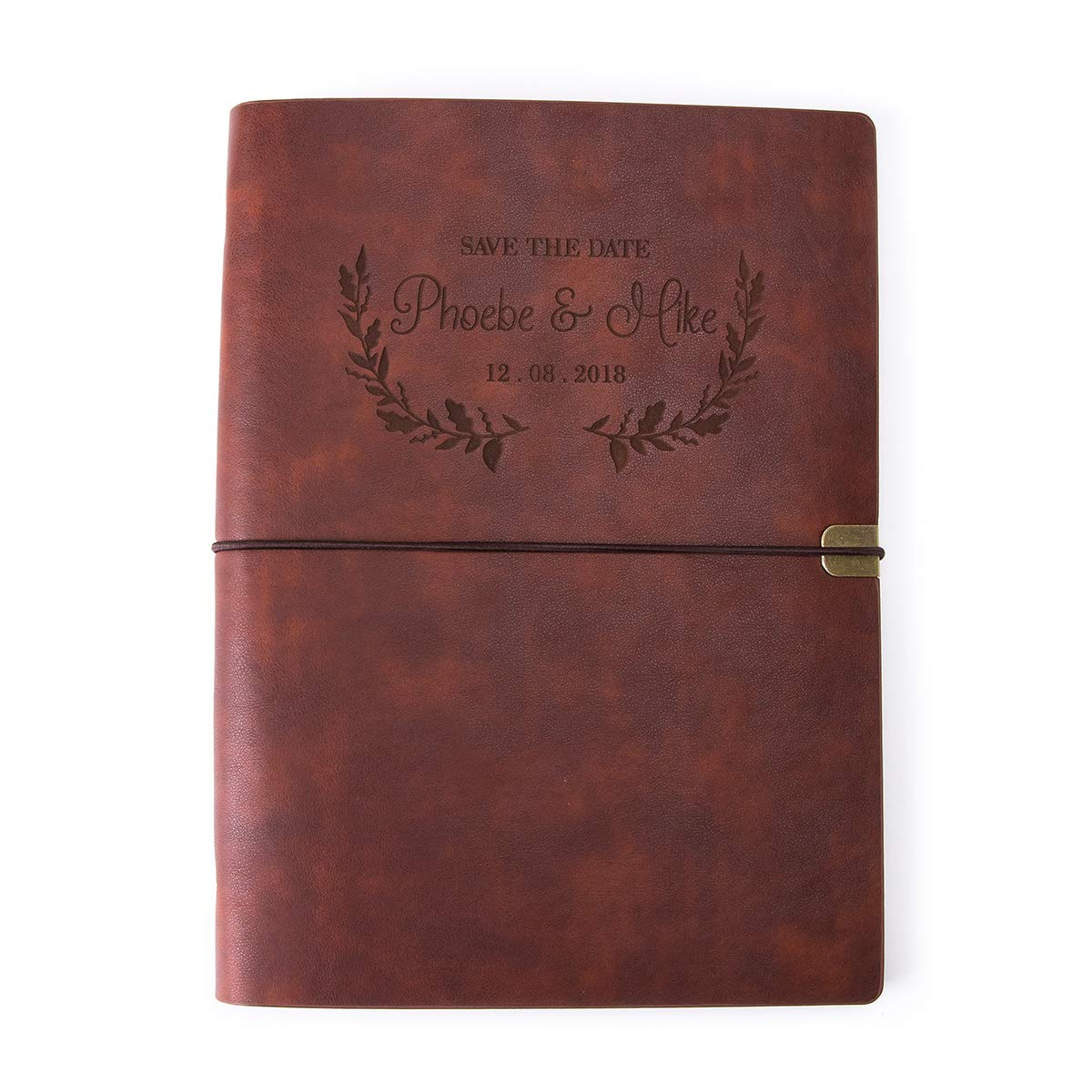 Personalized Leatherette Journal Monogrammed Wide Ruled Soft Cover Writing Notebook Refillable Loose-Leaf 6-Ring Binders Banded Custom Personal Diary(A5-Brown) by Fanery Sue