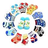 12 Pairs Anti-slip Socks Toddler Socks, SUMERSHA Assorted Kids Socks Size Ages 2-3 Years Animal Print Boys Girls Socks Random Color