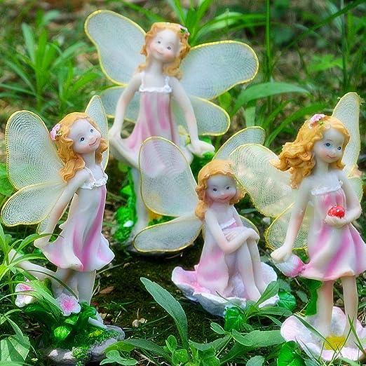 Whiie891203 - Juego de 4 figuras de jardín de hadas en miniatura para decoración de jardín de hadas, diseño de ángeles y flores, Un color: Amazon.es: Hogar
