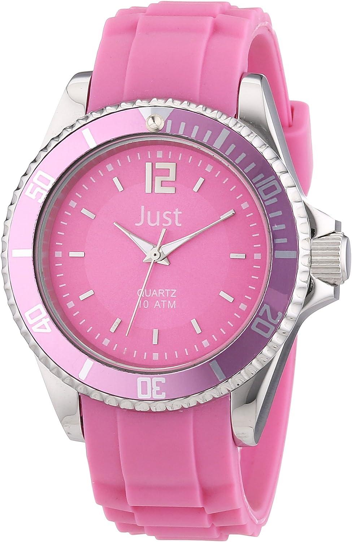Just Watches 48-S3857-PI - Reloj analógico de cuarzo unisex, correa de goma color verde