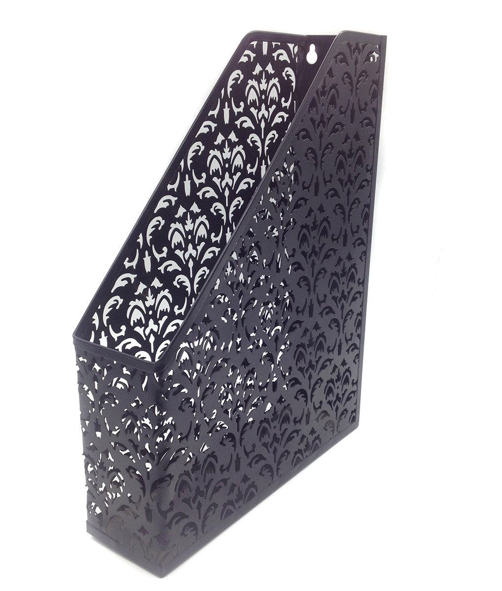 EasyPAG Carved Hollow Flower Pattern Office Desk File Holder Magazine Organizer,Black Baike