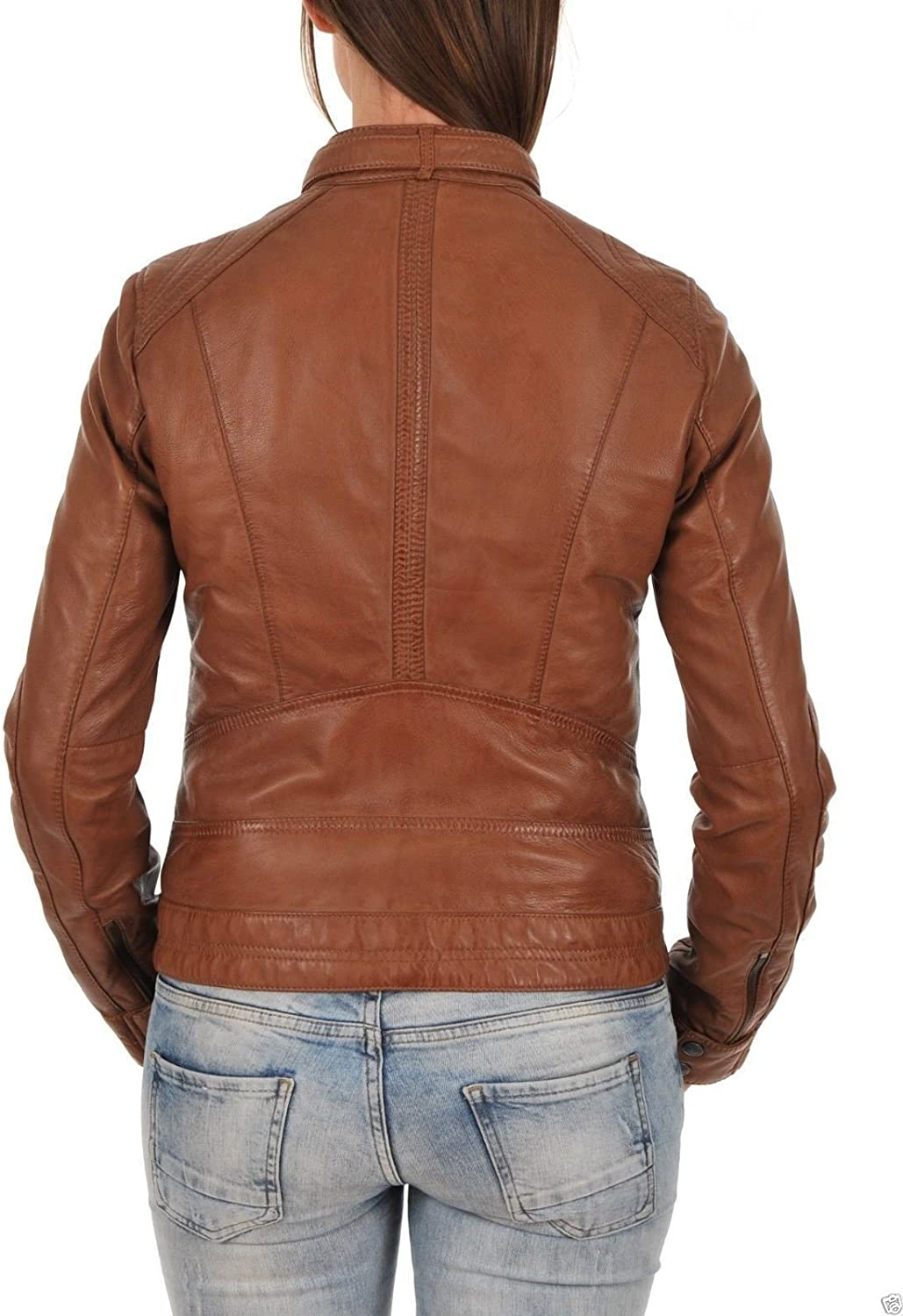 New Fashion Style Womens Leather Jackets Motorcycle Bomber Biker Dark Brown Real Leather Jacket Women