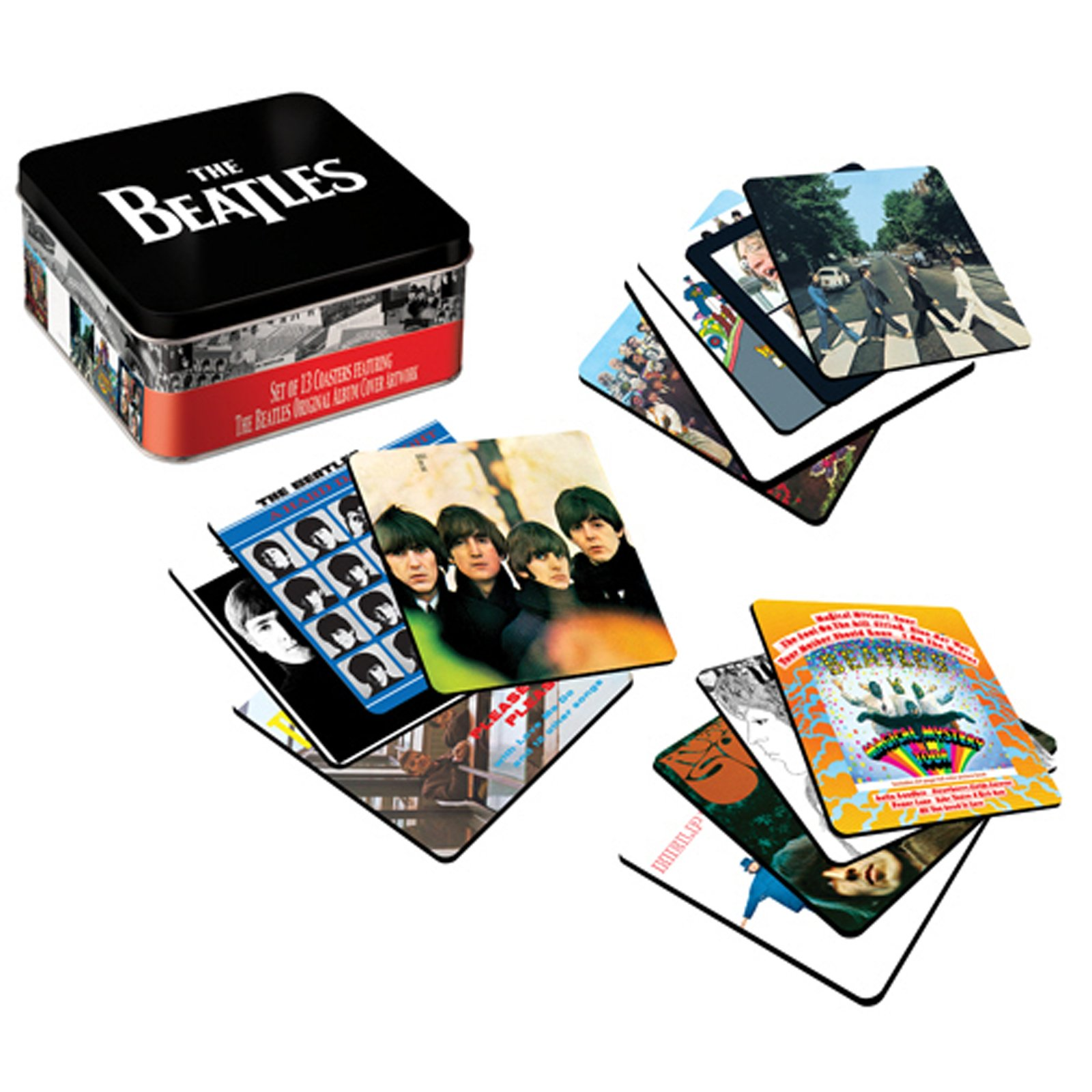 The Beatles Album Cover 13 pc. Coaster Set with Tin