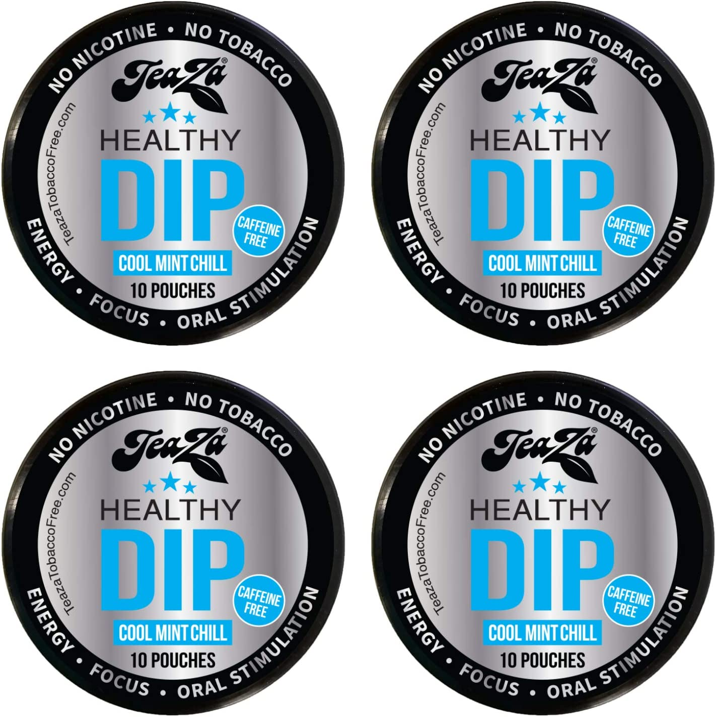 TeaZa Energy Smokeless Tobacco Alternative (4 pk. Cool Mint Chill) Quit Chewing and Dipping Tobacco Snuff - Nicotine and Caffeine Free Herbal Energy Pouch - Flavored Tobacco Free Chew
