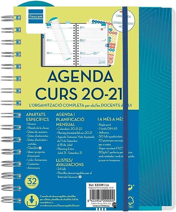 Finocam 155x212 Semana Vista Apaisada Magistral Hexa Coral Catal/án Agenda Docente 2020-2021 Cuarto