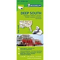 Michelin Deep South mit Mississippi, Alabama, Georgia, Florida, Louisiana, Arkansas, Tennessee: Straßen- und Tourismuskarte 1:1.267.200 (MICHELIN Zoomkarten)
