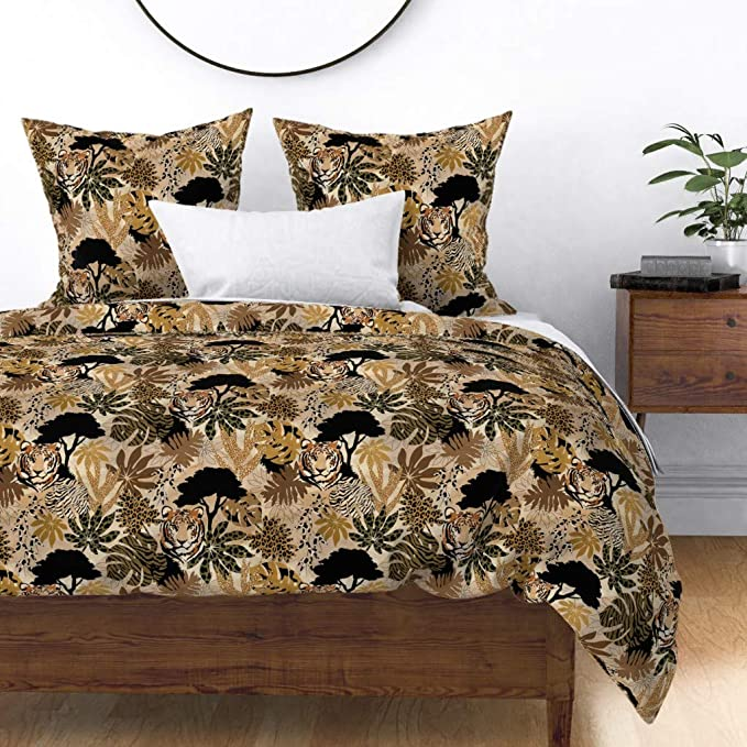 Amazon.com: Roostery Pillow Sham, Safari Tigers Animal ...