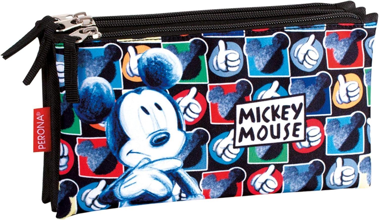 Montichelvo Mickey Mouse Hands - Estuche portatodo Triple (Perona 55388): Amazon.es: Ropa y accesorios