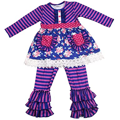 c95332c38c Amazon.com: Toddler Baby Girls Boutique Clothing Set - Children Kids 2pcs  Long Sleeve Ruffle Dress and Pants Outfits: Clothing