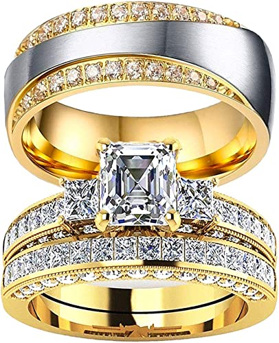 Buy Two Rings for one Pair LWJYX Couple Ring His and Hers White Gold Plated Crown Shaped Round Cut Cubic Zironia Wedding Engagement Ring Sets for Women /& Mens Stainless Steel Wedding Bands