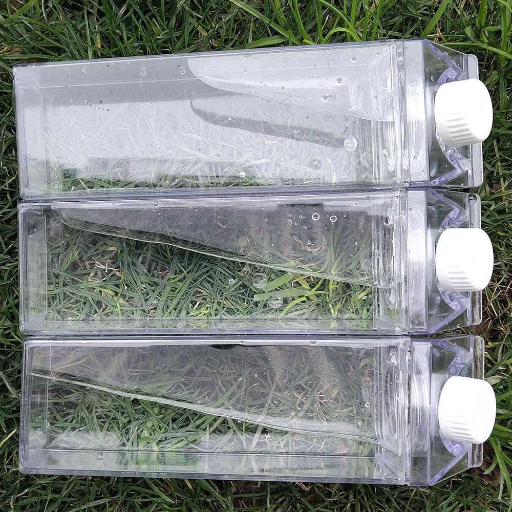 Botella De Agua Botellas De Jarra De Agua Reutilizables Transparentes 2 Piezas//B YUELIANG 1//2Pcs Botella De Agua Drinkware Shaker Sports Square Milk Water Bottle