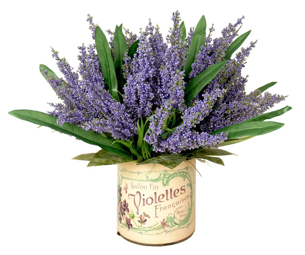 One Size CDFL1680 Creative Displays Lavender Heather Arragement Accented with Lemon Leaves in A French Label Container Lavender//Purple Creative Displays and Designs Inc