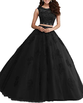 OnlyBridal Womens Tulle Quince Dresses Lace Appliques Two Piece Long Prom Dresses