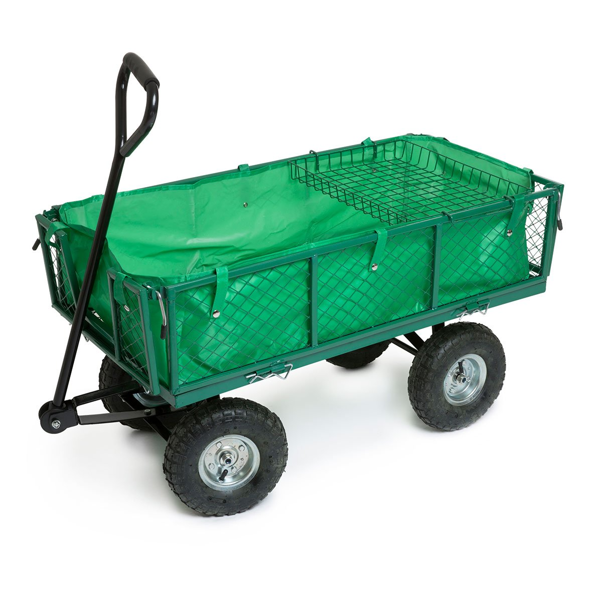 BMC Heavy Duty Garden Outdoor Utility Wheel Barrow Hand Cart Steel Truck Trolley - With Steering Handle, Fold Down Side Panels, Pneumatic Wheels, Detachable Liner and Extra Plant Shelf - Ideal for Gardening, Allotment, Paddock, Camping, Festival Wolf