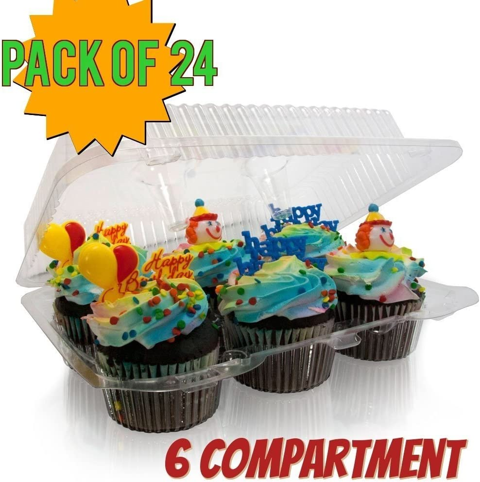 6 Compartment Cupcake boxes 6 Compartment cupcake Containers Holds 6 Cupcakes Each 6 Pack Cupcake Container 4 High for high toppinges 12,6 -Compartment 6 count cupcake container