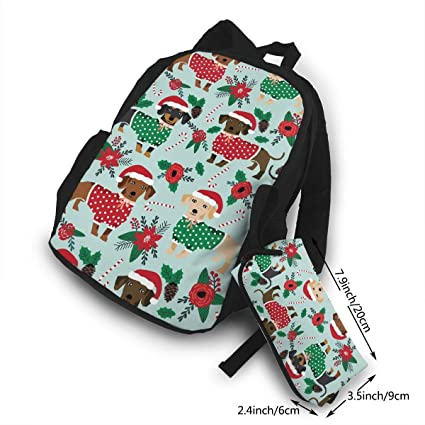 Christmas Sweaters Cute Dachshunds Campus Backpack Sports Camping Hiking  Trekking Fishing Hunting Daypack School Bag for 216381f49b1e4