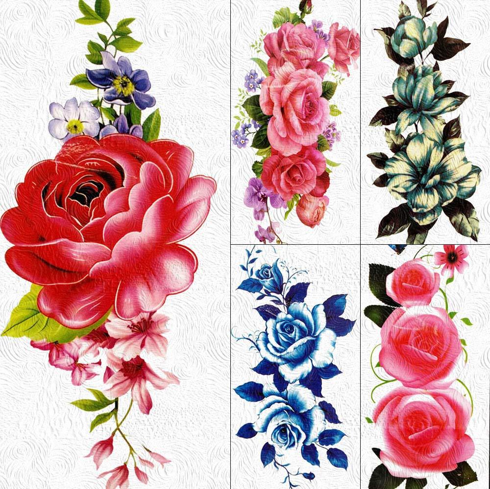 Tatuajes Temporales 3D Diy Gran Rosa Roja Tatuajes Temporales ...