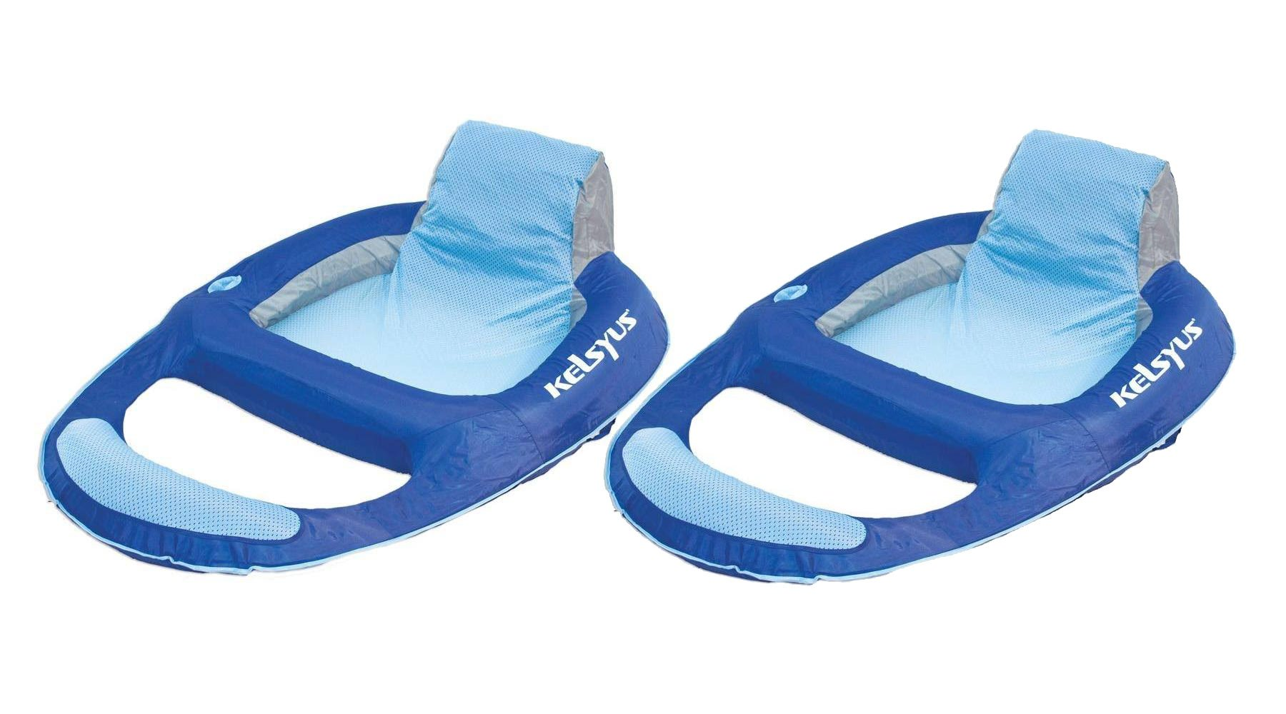 Kelsyus Floating Pool Lounger Inflatable Chair w/ Cup Holder Blue (2 Pack) 80014 by Kelsyus