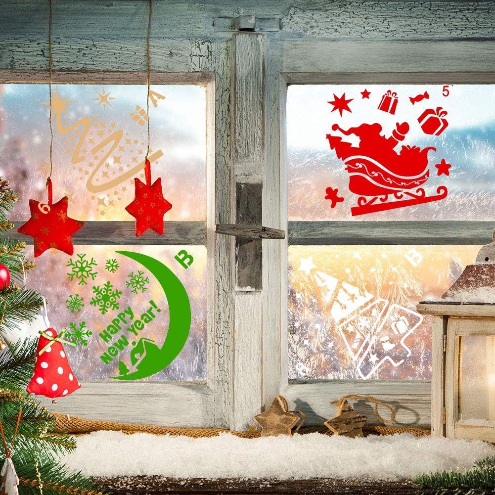 limewie 24 Pieces Christmas Stencils Template Reusable Plastic Stencils Art Craft Stencil for Drawing Painting Spraying Window Glass Door Car Body