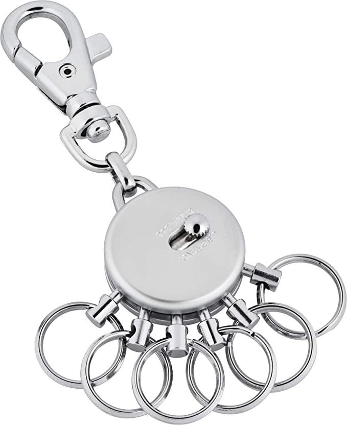 Schlüsselanhänger aus Metall - mit Karabinerhaken - 6 ausklinkbare Ringe von Jadani