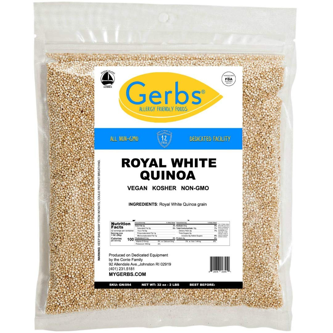 Gerbs Royal White Quinoa - 2 LBS. - Top 14 Food Allergen Friendly & NON GMO – Vegan, Keto Safe & Kosher – Product of USA