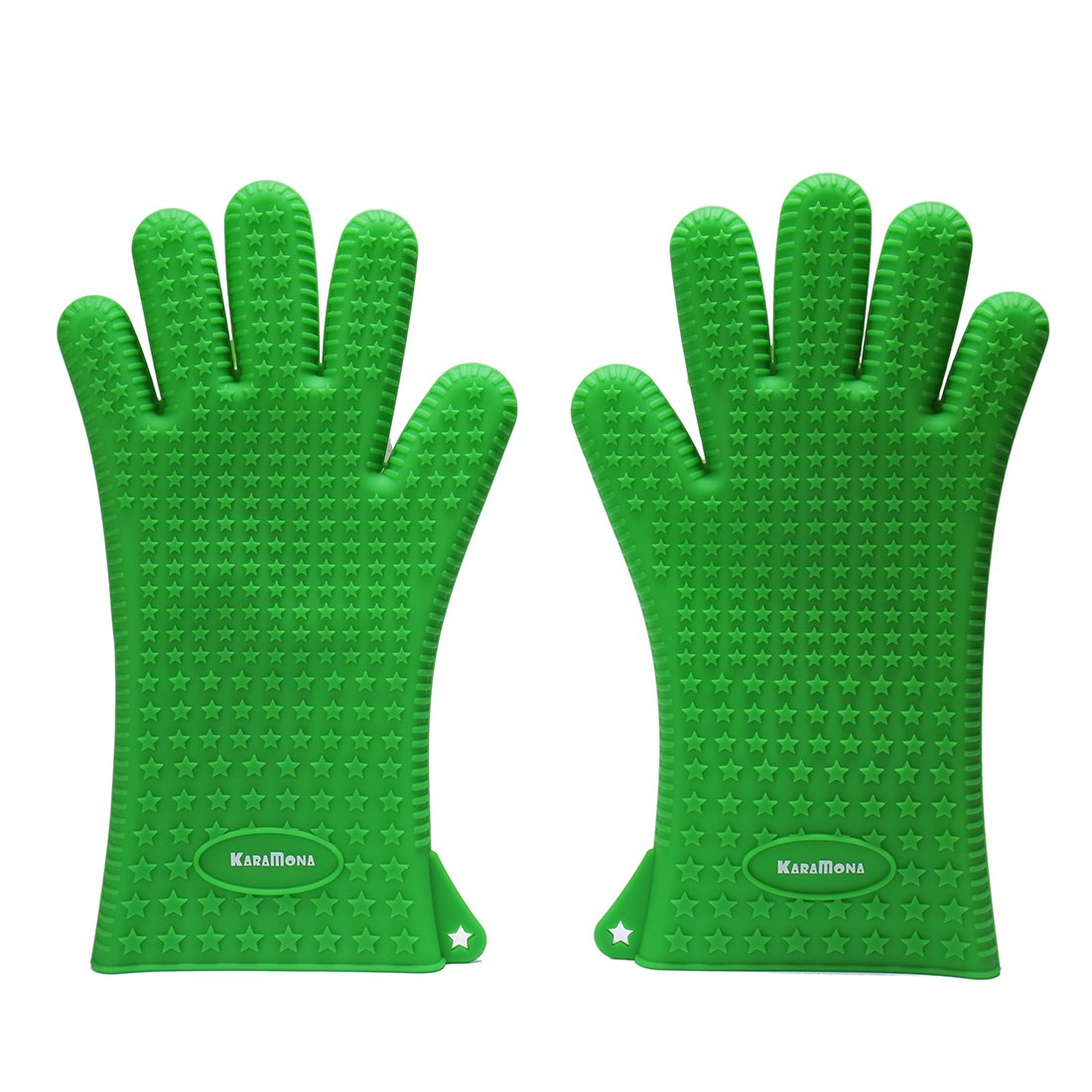 KaraMona Silicone Oven Mitts Green, Silicone Gloves with Fingers, Oven Mitts Heat Resistant, FDA Approved & BPA Free